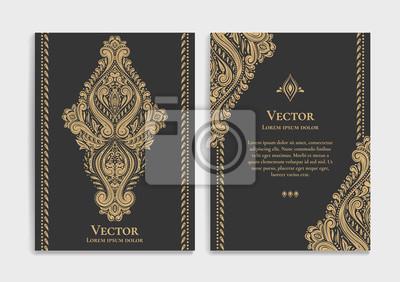 Naklejka Złoto rocznika kartkę z życzeniami na czarnym tle. Luksusowy ornament wektor szablon. Mandala. Idealne na zaproszenie, ulotkę, menu, broszurę, pocztówkę, tapetę, dekorację lub dowolny inny pomysł.