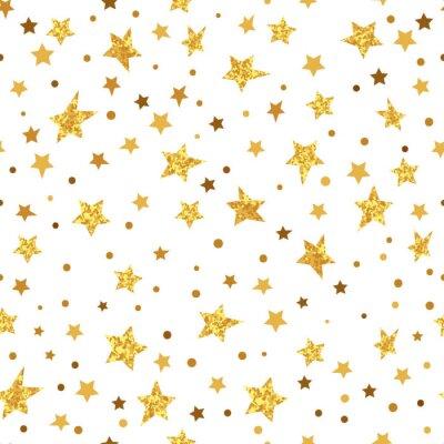 Naklejka Złoty Błyszczący gwiazdy bez szwu deseń. Wektor musujące tła.