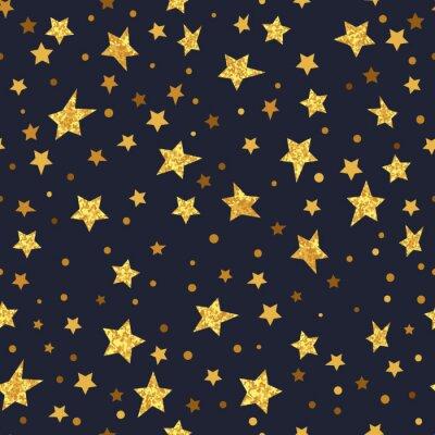 Naklejka Złoty Błyszczący gwiazdy bez szwu deseń. Wektor noc musujące tła.