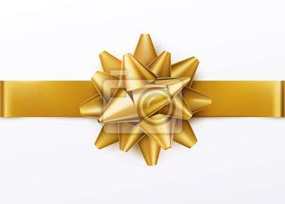 Naklejka Złoty łuk prezent z poziomą wstążką. Pojedynczo na białym tle