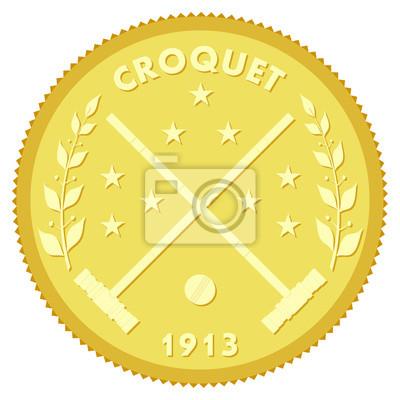 Złoty medalion z wizerunkiem kije do krykieta i piłki. colore