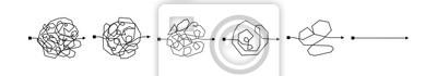 Naklejka Zmieszany skomplikowany sposób jako chaos lub problemowa pojęcie ilustracja