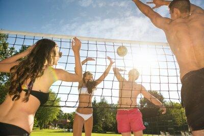 Naklejka Znajomi grać w siatkówkę na plaży