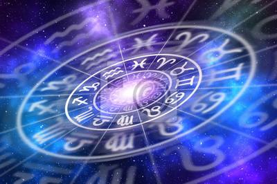 Naklejka Znaki zodiaku wewnątrz horoskop koło na tle wszechświata
