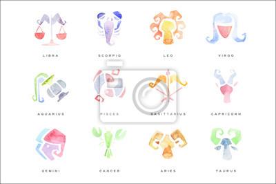 Naklejka Znaki zodiaku zestaw ilustracji wektorowych wyciągnąć rękę akwarela