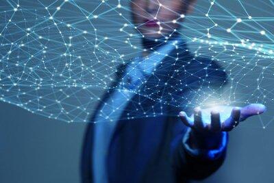 Naklejka Znana ręcznie wykazując cyfrowych linii połączeń w dłoni