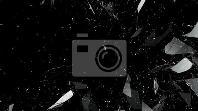 Naklejka Zniszczone szkło na czarnym tle