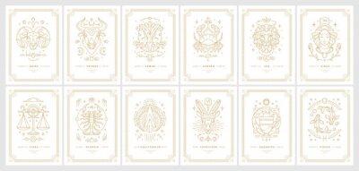 Naklejka Zodiac astrology horoscope cards linear design vector illustrations set
