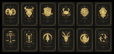 Naklejka Zodiac astrology horoscope cards linocut silhouettes design vector illustrations set