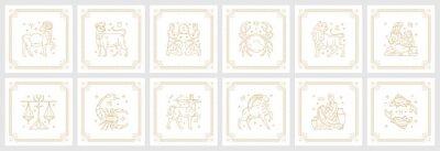 Naklejka Zodiac astrology horoscope signs linear design vector illustrations set
