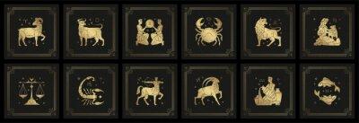 Naklejka Zodiac astrology horoscope signs linocut silhouettes design vector illustrations set