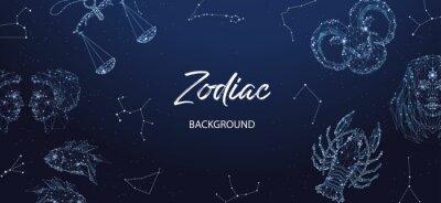 Naklejka Zodiac background. Astrological horoscope. Horizontal banner with polygonal zodiac signs.