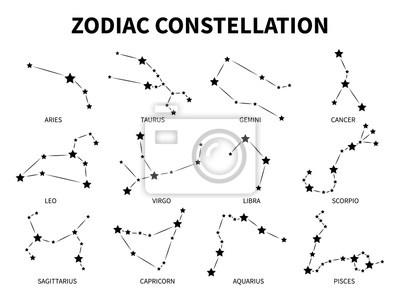 Naklejka Zodiac constellation. Aries taurus gemini cancer leo virgo libra scorpio pisces zodiacal, mystic astrology vector isolated black signs