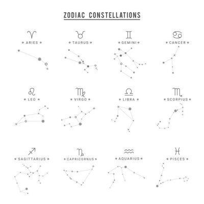 Naklejka Zodiac constellation. Collection of 12 zodiac signs with titles