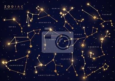 Naklejka Zodiac constellations gold set