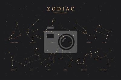 Naklejka zodiac constellations on a dark night sky background with stars,  astrology / astronomy spiritual vector design elements
