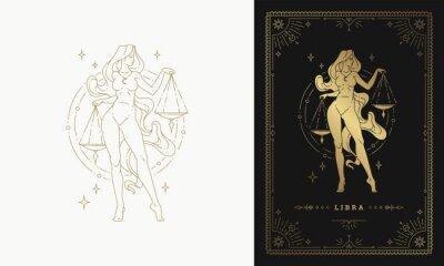 Naklejka Zodiac libra girl character horoscope sign line art silhouette design vector illustration