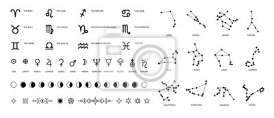 Naklejka Zodiac signs and constellations. Ritual astrology and horoscope symbols with stars planet symbols and Moon phases. Vector set pictogram elements constellation illustration for ancient alchemy