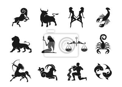 Naklejka zodiac signs horoscope icons set. isolated astrological images
