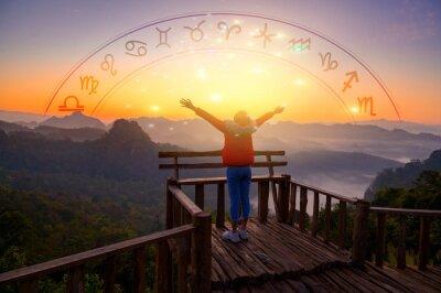Naklejka Zodiac signs inside of horoscope circle astrology and horoscopes concept