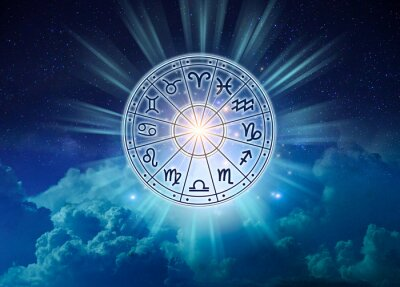 Naklejka Zodiac signs inside of horoscope circle. Astrology in the sky with many stars and moons  astrology and horoscopes concept