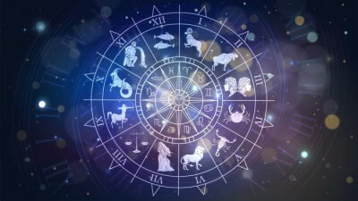 Naklejka Zodiac signs revolve around the moon in space, astrology and horoscope
