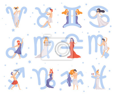 Naklejka Zodiac Signs Set, Twelve Beautiful Women with Astrological Signs Vector Illustration
