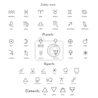Naklejka Zodiac sings astrology astronomy symbols, isolated icons