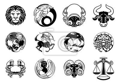 Naklejka Zodiak astrologia horoskop gwiazda znaki zestaw ikon