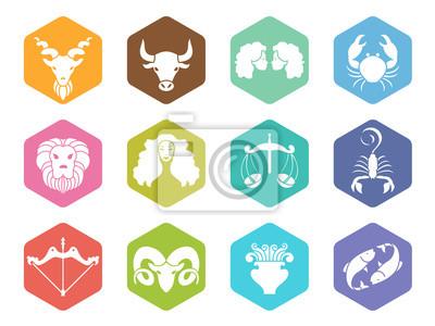 Naklejka zodiaku ikona znak na sześciokąt wektorowych scenografii