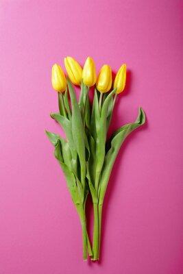 Naklejka żółte tulipany na różowym tle