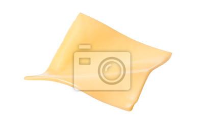 Naklejka Żółtego sera plasterki odizolowywający na białym tle.