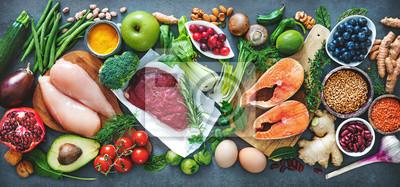 Naklejka Zrównoważona dieta żywności tło