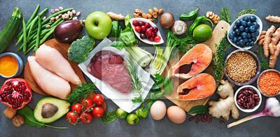 Naklejka Zrównoważone jedzenie dieta tło