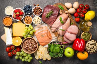 Naklejka Zrównoważone jedzenie dieta tło.