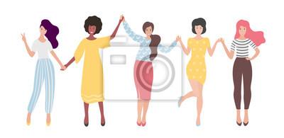 Naklejka Zróżnicowana międzynarodowa grupa kobiet stojących lub trzymających się za ręce. Siostry, przyjaciele, związek feministek. Ilustracja wektorowa płaskie