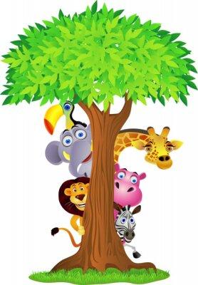 Naklejka Zwierzę za drzewa ukrywanie