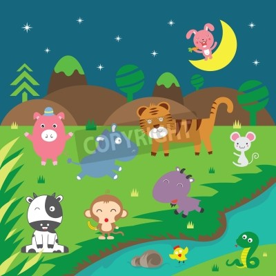 Naklejka zwierzetami wektor w lesie