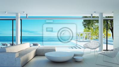 Naklejka Życie na plaży na widok na morze - idealne życie / rendering 3d