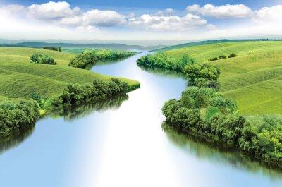 Naklejka Zygzak rzeka przepływa pomiędzy dolinami letnich kolor ilustracji