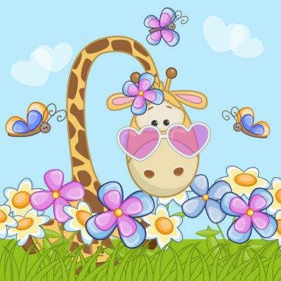 Naklejka Żyrafa z kwiatami