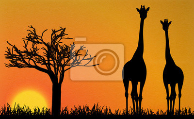Naklejka żyrafy w Afryce