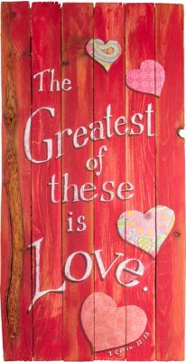 Obraz 1 Corinthians 13:13 hand painted on wooden shim canvas