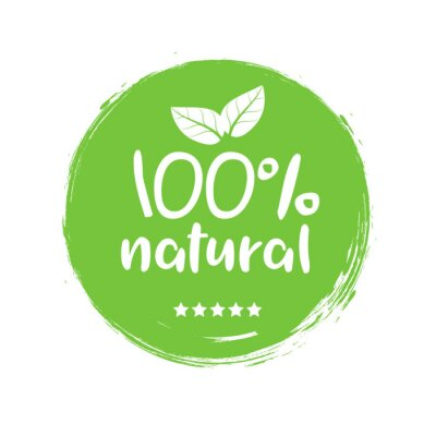 Obraz 100 natural organic stamp food badge. Eco Nature green icon product label or logo typography