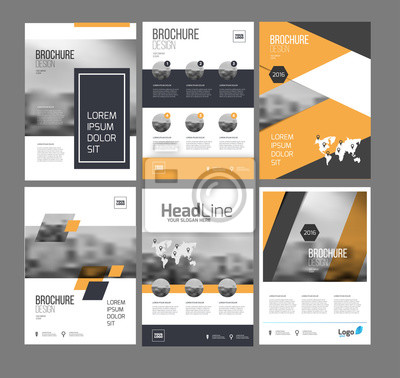 Obraz 1061505 Sześć szablony flyer marketingu z fotografii, tekstu i mapy