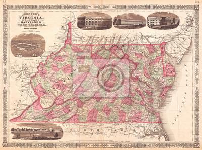 Obraz 1866, Johnson Map of Virginia, West Virginia, Maryland and Delaware