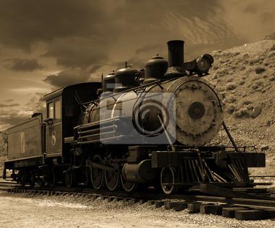 Obraz 19-te lokomotywa parowa wieku na Comstock w Gold Hill, Nevada