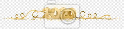 Obraz 2020 happy new year vector symbol transparent background isolated