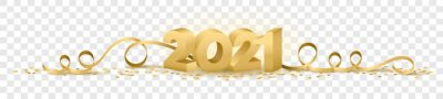 Obraz 2021 happy new year vector symbol transparent background isolated