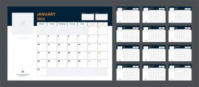 Obraz 2022 calendar planner set for template corporate design week start on Monday.